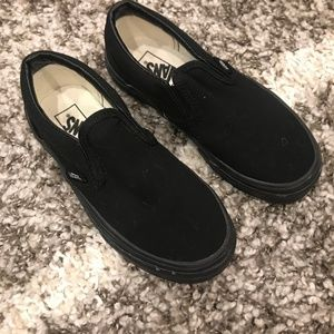 All Black Vans Slip-ons, Kids 13